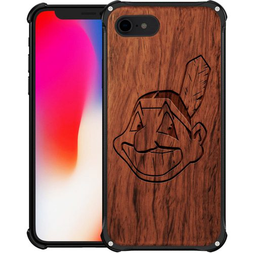 Cleveland Indians iPhone 8 Case - Hybrid Metal and Wood Cover
