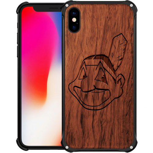 Cleveland Indians iPhone X Case - Hybrid Metal and Wood Cover