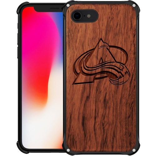 Colorado Avalanche iPhone 8 Case - Hybrid Metal and Wood Cover