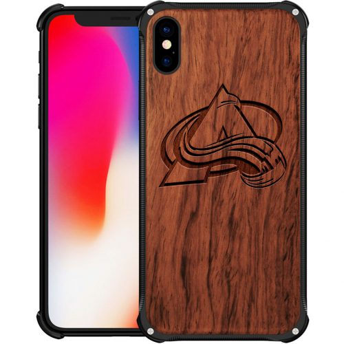 Colorado Avalanche iPhone X Case - Hybrid Metal and Wood Cover