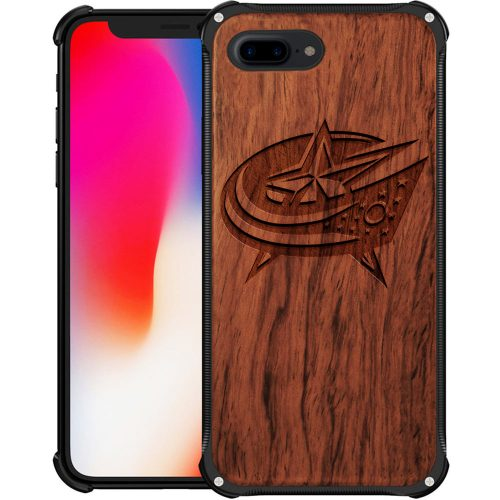 Columbus Blue Jackets iPhone 8 Plus Case - Hybrid Metal and Wood Cover