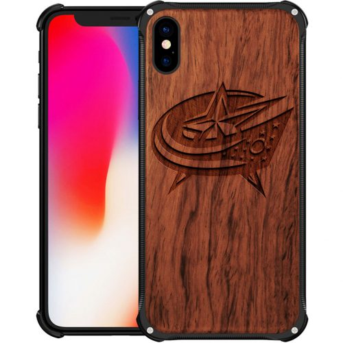 Columbus Blue Jackets iPhone X Case - Hybrid Metal and Wood Cover