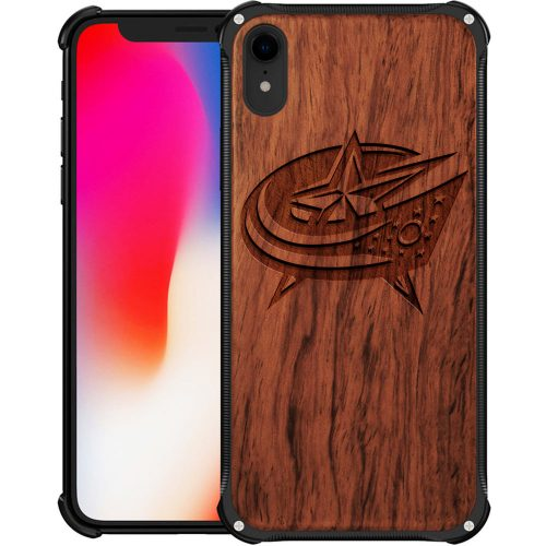 Columbus Blue Jackets iPhone XR Case - Hybrid Metal and Wood Cover