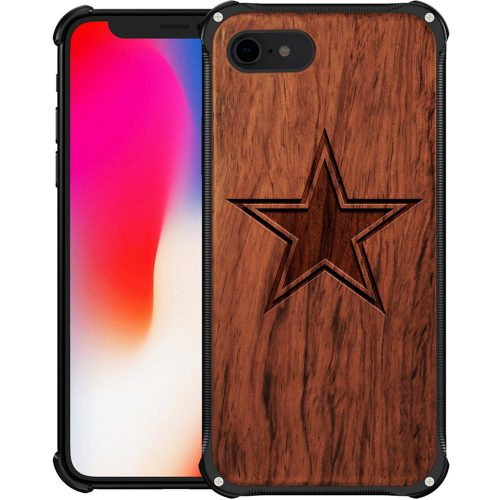Dallas Cowboys iPhone 8 Case - Hybrid Metal and Wood Cover