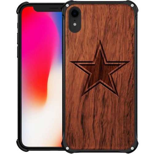 Dallas Cowboys iPhone XR Case - Hybrid Metal and Wood Cover