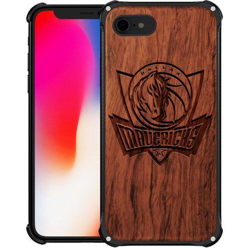 Dallas Mavericks iPhone 8 Case - Hybrid Metal and Wood Cover