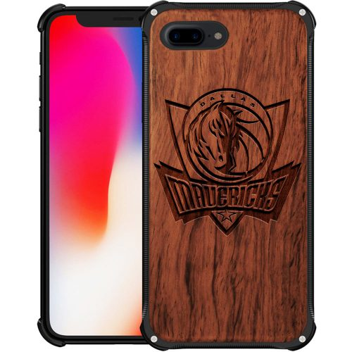 Dallas Mavericks iPhone 8 Plus Case - Hybrid Metal and Wood Cover