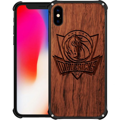 Dallas Mavericks iPhone X Case - Hybrid Metal and Wood Cover