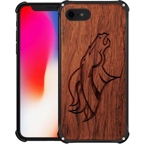 Denver Broncos iPhone 8 Case - Hybrid Metal and Wood Cover
