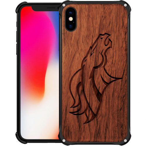 Denver Broncos iPhone XS Case - Hybrid Metal and Wood Cover