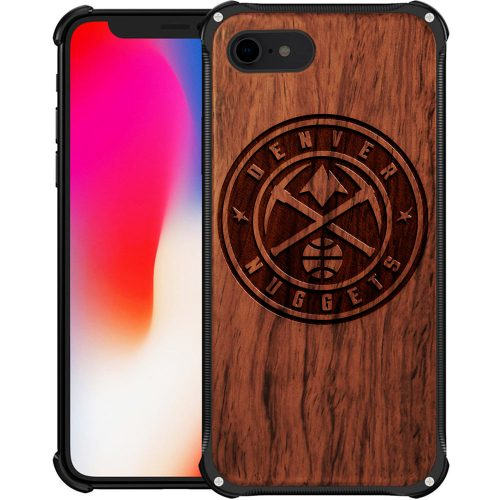Denver Nuggets iPhone 8 Case - Hybrid Metal and Wood Cover