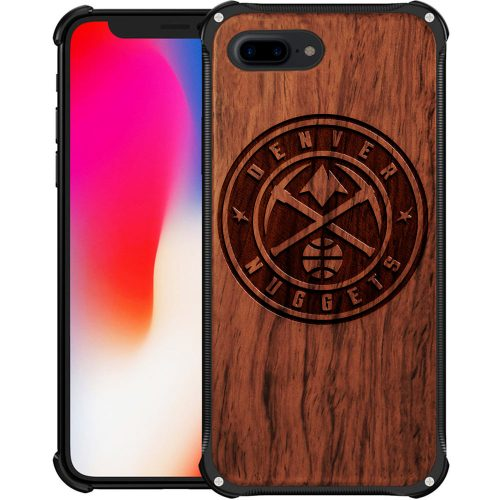 Denver Nuggets iPhone 8 Plus Case - Hybrid Metal and Wood Cover