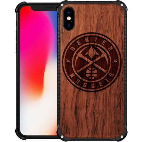 Denver Nuggets iPhone XS Max Case - Hybrid Metal and Wood Cover