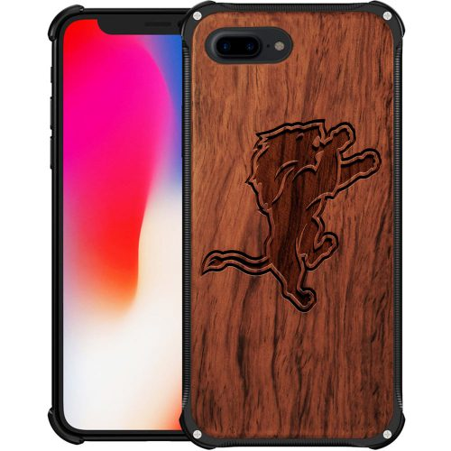 Detroit Lions iPhone 8 Plus Case - Hybrid Metal and Wood Cover