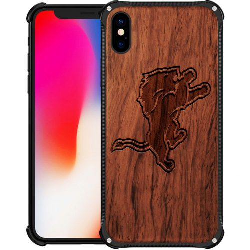 Detroit Lions iPhone X Case - Hybrid Metal and Wood Cover