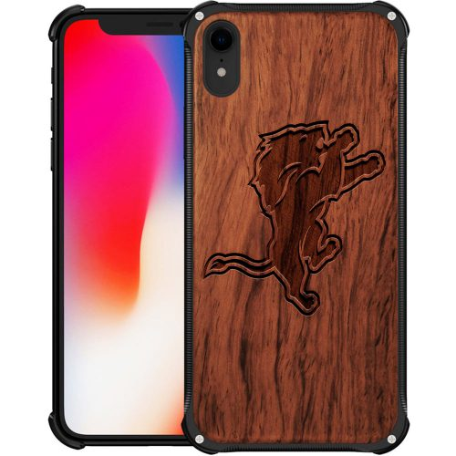 Detroit Lions iPhone XR Case - Hybrid Metal and Wood Cover