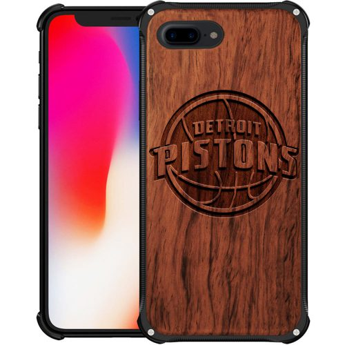 Detroit Pistons iPhone 8 Plus Case - Hybrid Metal and Wood Cover