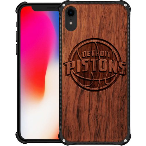 Detroit Pistons iPhone XR Case - Hybrid Metal and Wood Cover