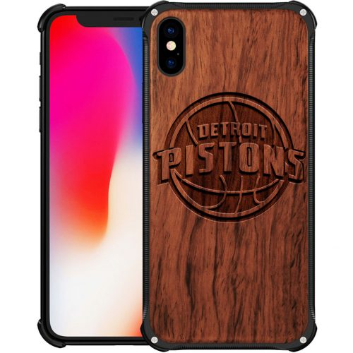 Detroit Pistons iPhone XS Max Case - Hybrid Metal and Wood Cover