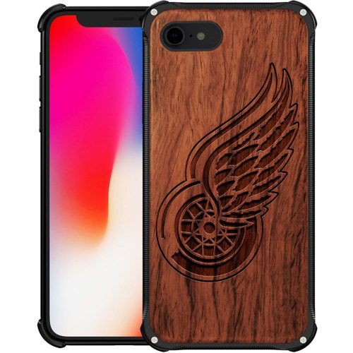 Detroit Red Wings iPhone 8 Case - Hybrid Metal and Wood Cover
