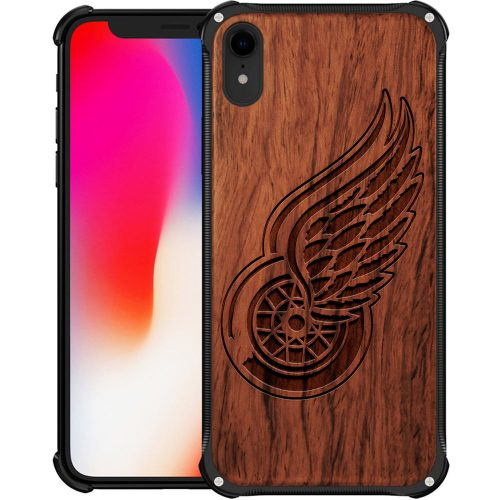 Detroit Red Wings iPhone XR Case - Hybrid Metal and Wood Cover
