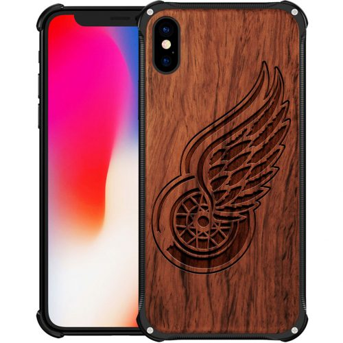 Detroit Red Wings iPhone XS Max Case - Hybrid Metal and Wood Cover
