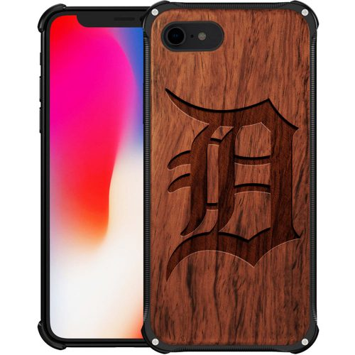 Detroit Tigers iPhone 8 Case - Hybrid Metal and Wood Cover