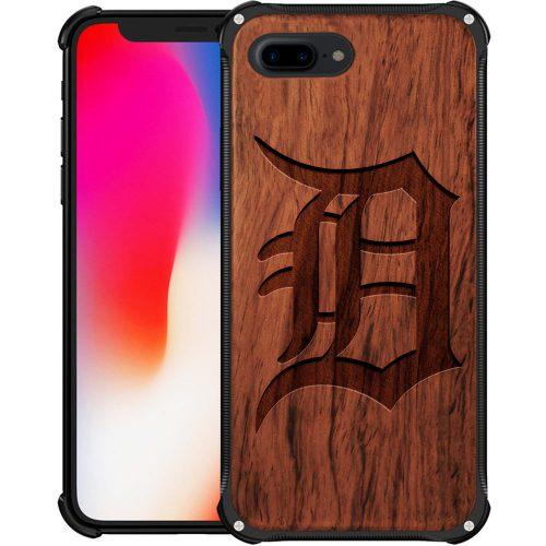 Detroit Tigers iPhone 8 Plus Case - Hybrid Metal and Wood Cover