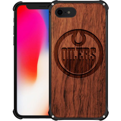 Edmonton Oilers iPhone 8 Case - Hybrid Metal and Wood Cover