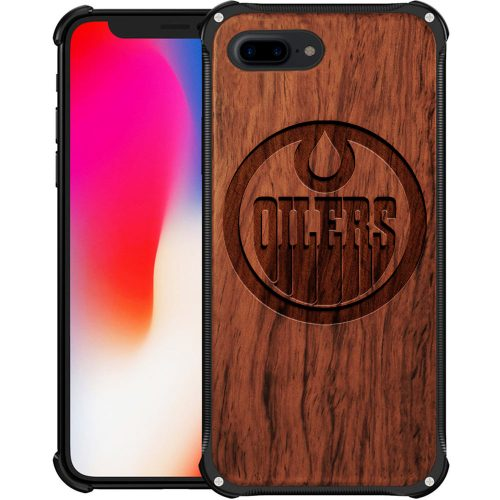 Edmonton Oilers iPhone 8 Plus Case - Hybrid Metal and Wood Cover
