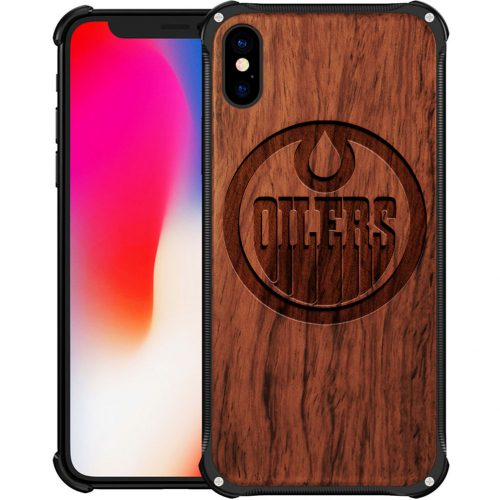 Edmonton Oilers iPhone X Case - Hybrid Metal and Wood Cover