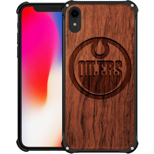 Edmonton Oilers iPhone XR Case - Hybrid Metal and Wood Cover