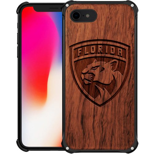 Florida Panthers iPhone 8 Case - Hybrid Metal and Wood Cover