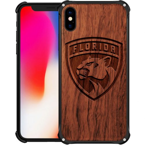 Florida Panthers iPhone X Case - Hybrid Metal and Wood Cover