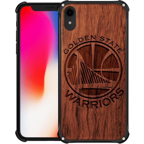 Golden State Warriors iPhone XR Case - Hybrid Metal and Wood Cover