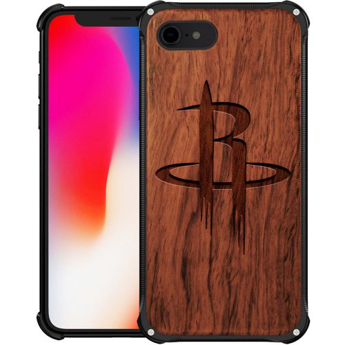 Houston Rockets iPhone 8 Case - Hybrid Metal and Wood Cover