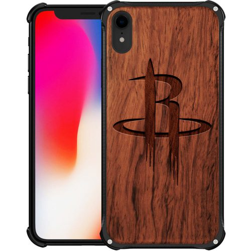 Houston Rockets iPhone XR Case - Hybrid Metal and Wood Cover