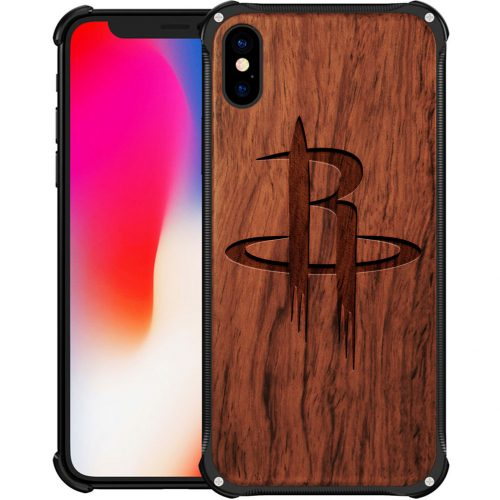 Houston Rockets iPhone XS Max Case - Hybrid Metal and Wood Cover