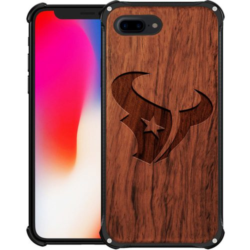 Houston Texans iPhone 8 Plus Case - Hybrid Metal and Wood Cover