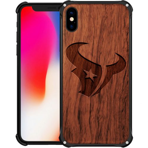 Houston Texans iPhone XS Max Case - Hybrid Metal and Wood Cover