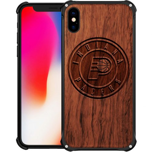 Indiana Pacers iPhone X Case - Hybrid Metal and Wood Cover