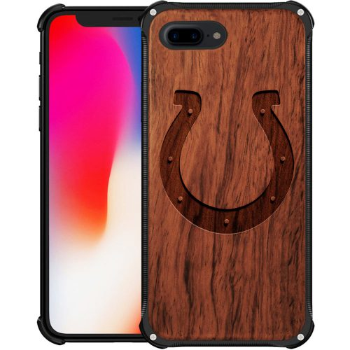 Indianapolis Colts iPhone 8 Plus Case - Hybrid Metal and Wood Cover