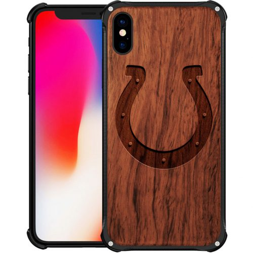 Indianapolis Colts iPhone X Case - Hybrid Metal and Wood Cover