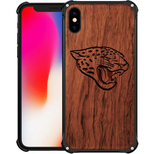 Jacksonville Jaguars iPhone XS Case - Hybrid Metal and Wood Cover