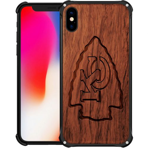 Kansas City Chiefs iPhone XS Max Case - Hybrid Metal and Wood Cover