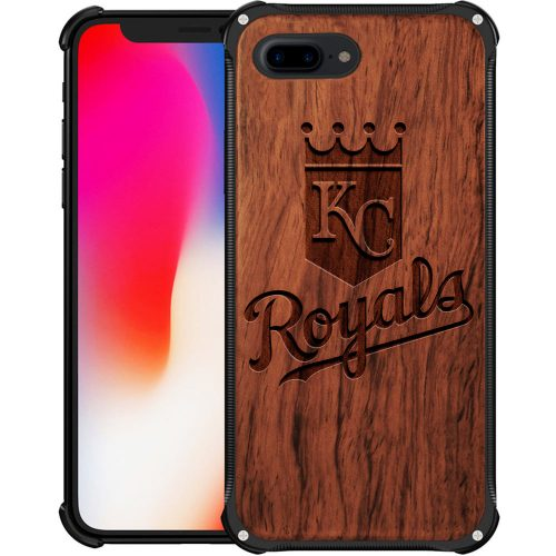 Kansas City Royals iPhone 8 Plus Case - Hybrid Metal and Wood Cover