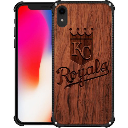Kansas City Royals iPhone XR Case - Hybrid Metal and Wood Cover