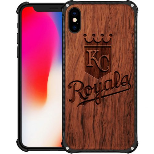 Kansas City Royals iPhone XS Max Case - Hybrid Metal and Wood Cover