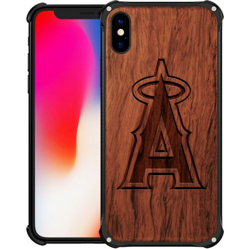 Los Angeles Angels iPhone X Case - Hybrid Metal and Wood Cover