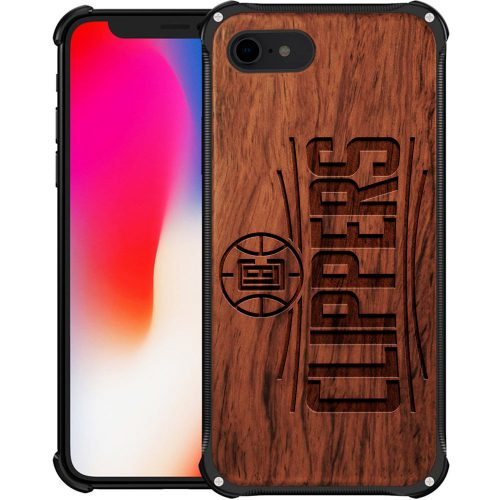 Los angeles Clippers iPhone 8 Case - Kawhi Leonard Hybrid Metal and Wood Cover